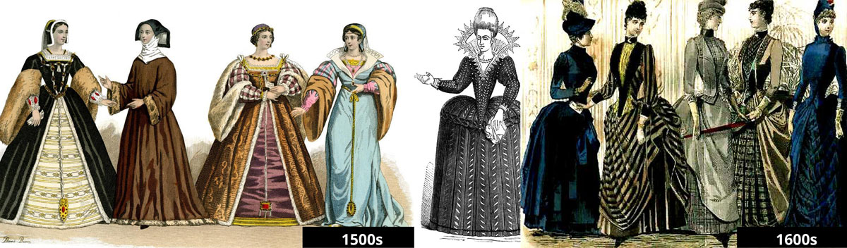 1500s to 1600s women's fashion
