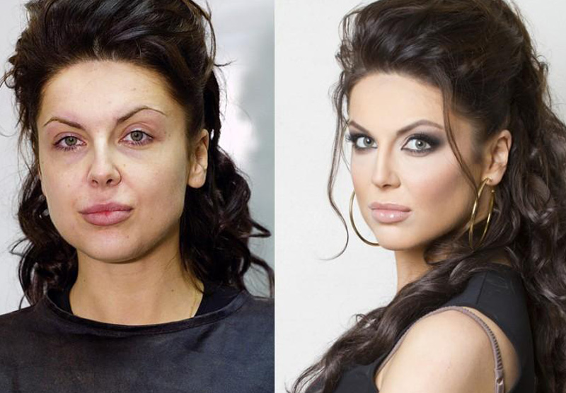 Brunette before and after make up