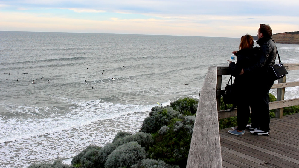 Dan Bacon with girlfriend at Jan Juc beach, Victoria