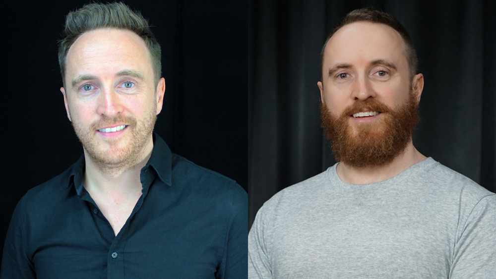 Dan Bacon with and without a beard