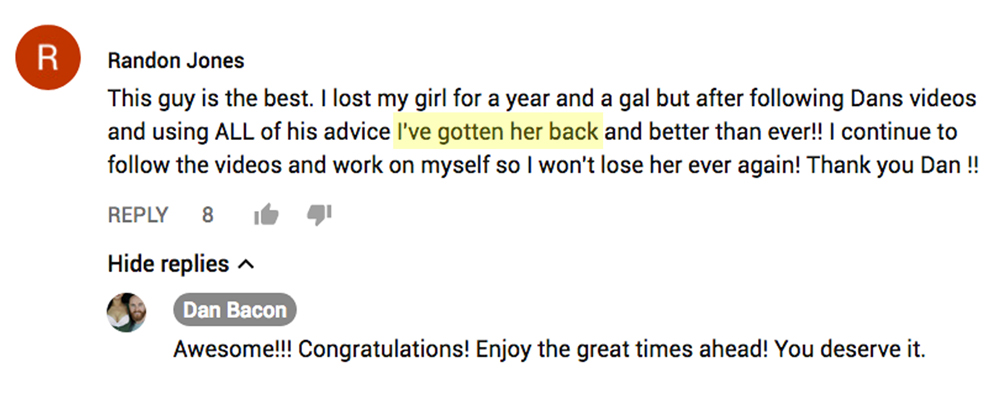 Ex back success stories - example 1