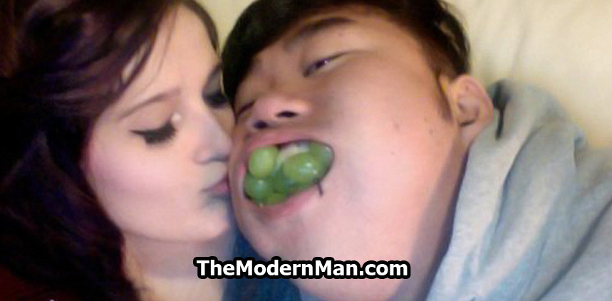 Fat Asian guy with pretty girlfriend
