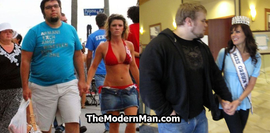 Fat guy with beautiful girlfriend. She finds him attractive