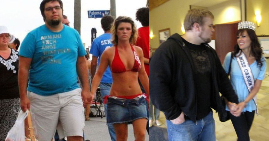 Fat guy with girlfriend