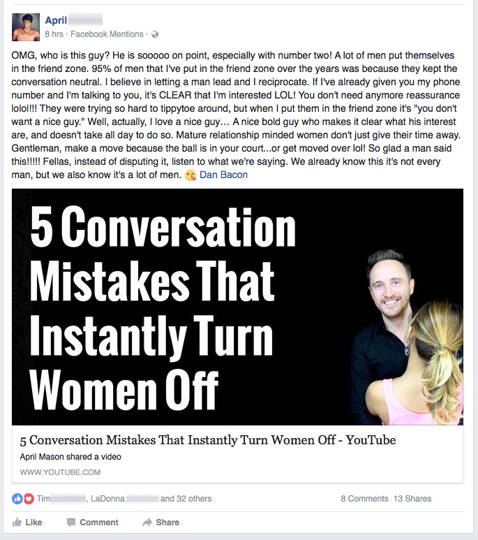 Female support on Facebook for Dan Bacon - The Modern Man