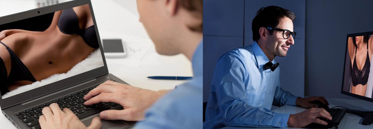Men looking at online porn