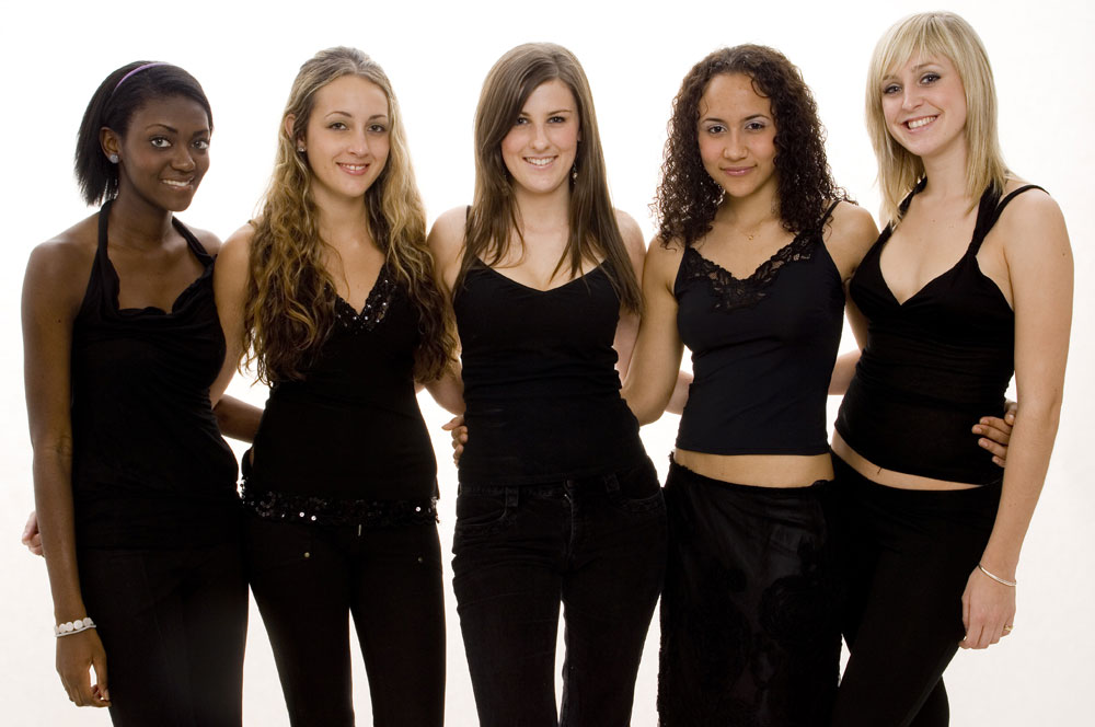 Group of mixed race girls