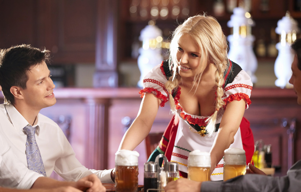 Waitress flirting with customer