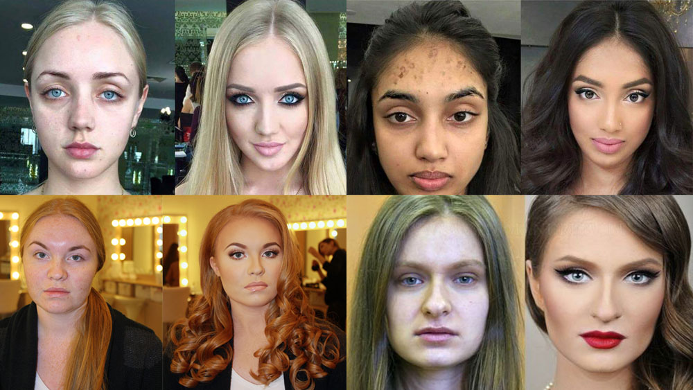 Women before and after make up
